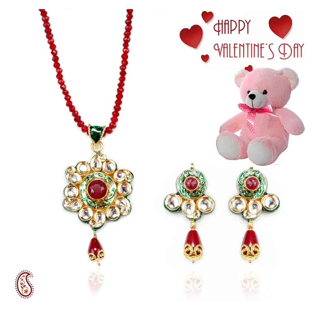 White Kundans CZ , Ruby Pendant Set with Free Teddy & Valentine's Card.