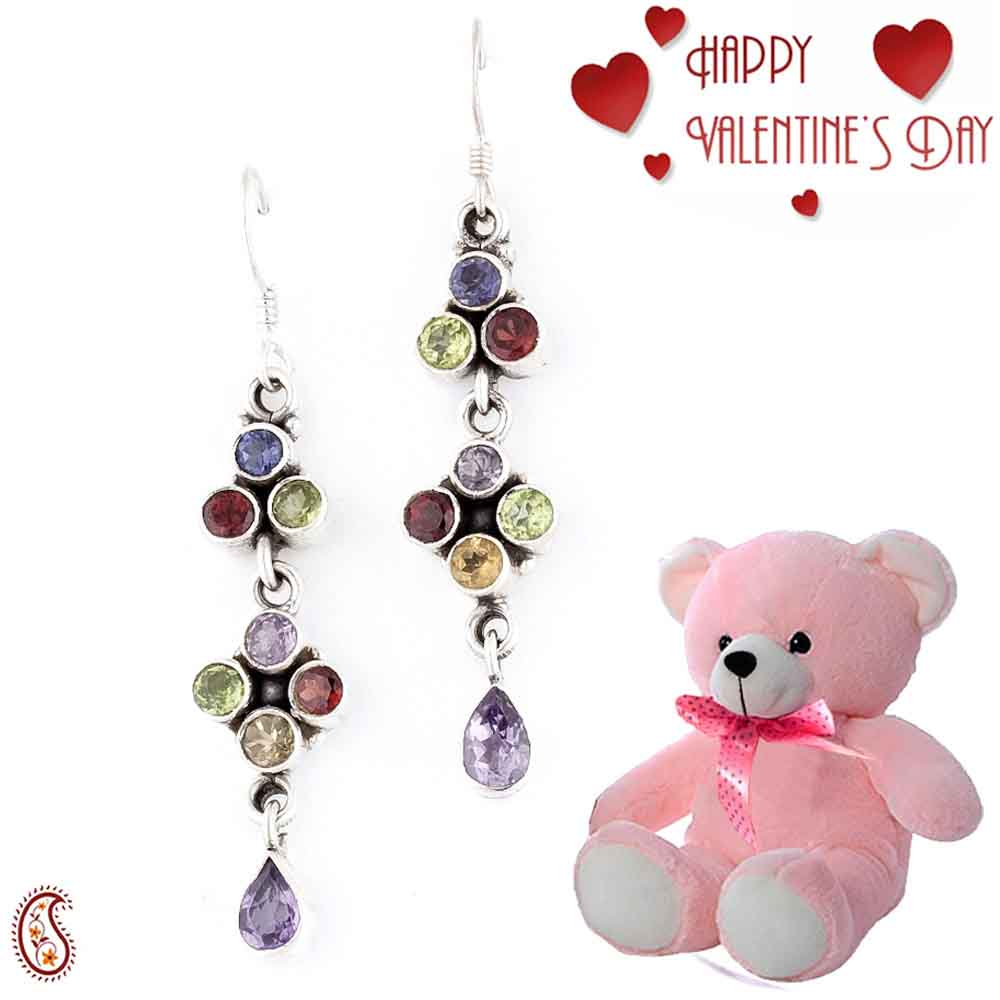 Magical Chandlier Design Earrings with Free Teddy & Valentine's Card_21.