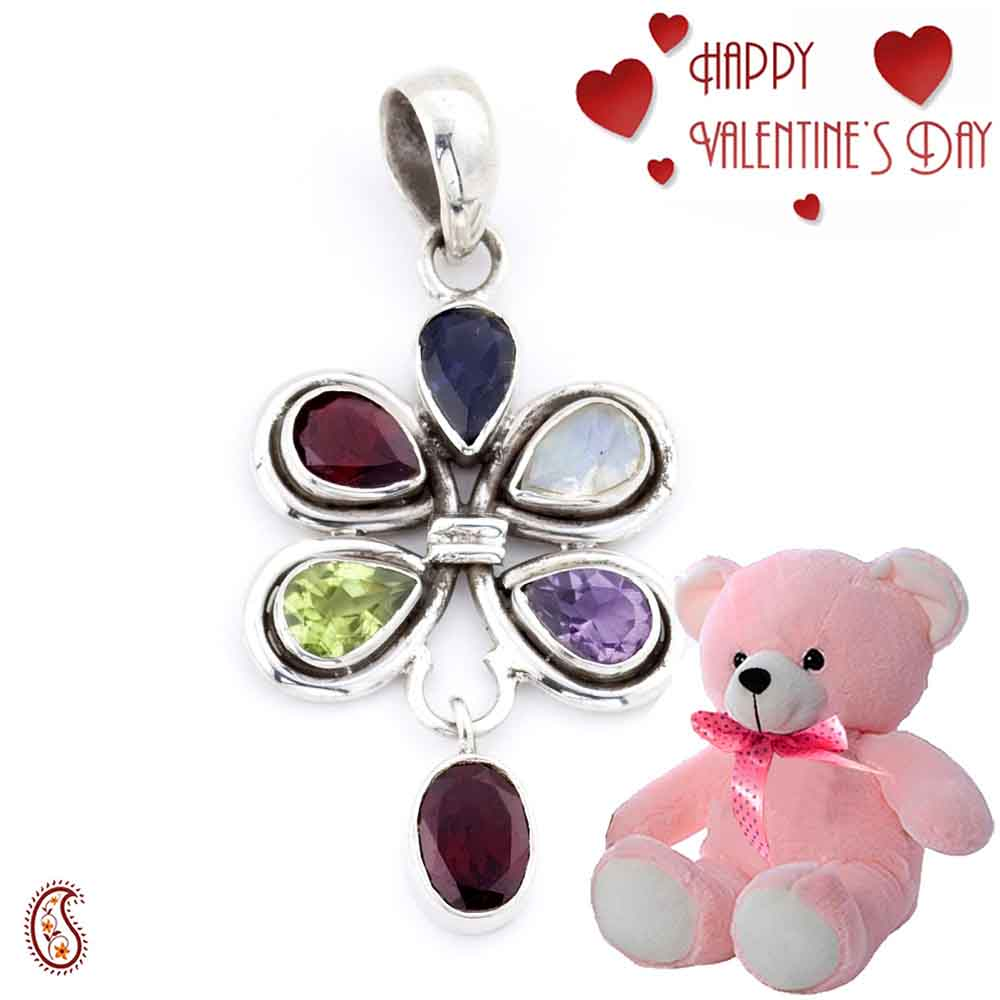 Exclusive Silver Pendant with Free Teddy & Valentine's Card_01.