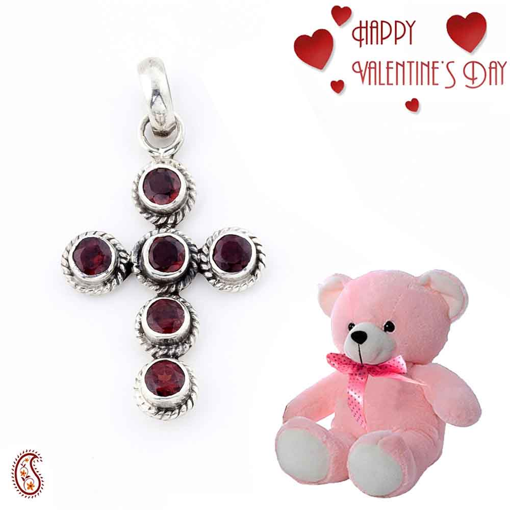 Elegant Handcrafted Garnet Pendant In Silver with Free Teddy & Valentine's Card_03.