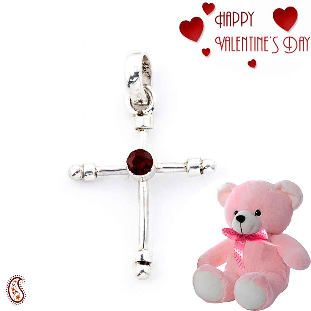 Fine Silver Pendant With Faceted Garnet & Free Teddy & Valentine's Card_16.