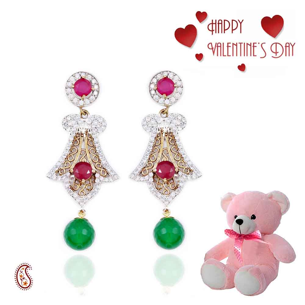 Traditional Earrings having CZ, Ruby with Free Teddy & Valentine's Card.