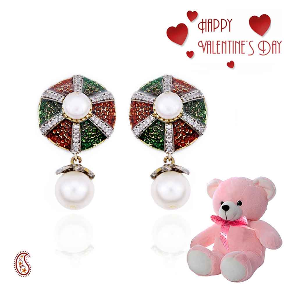 Enamel, CZ and Pearl Earrings with Free Teddy & Valentine's Card.