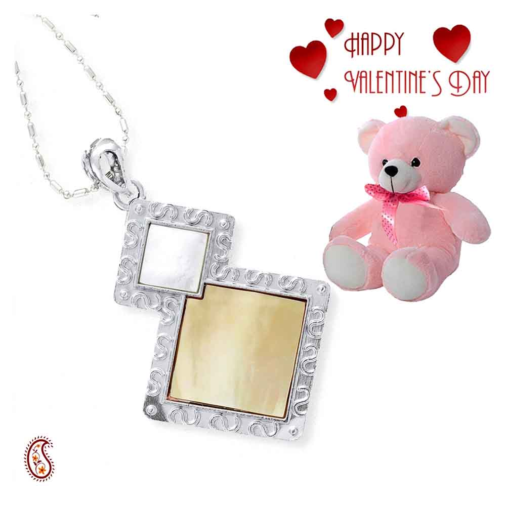 Natural Yellow Shell Pendant with Free Teddy & Valentine's Card.