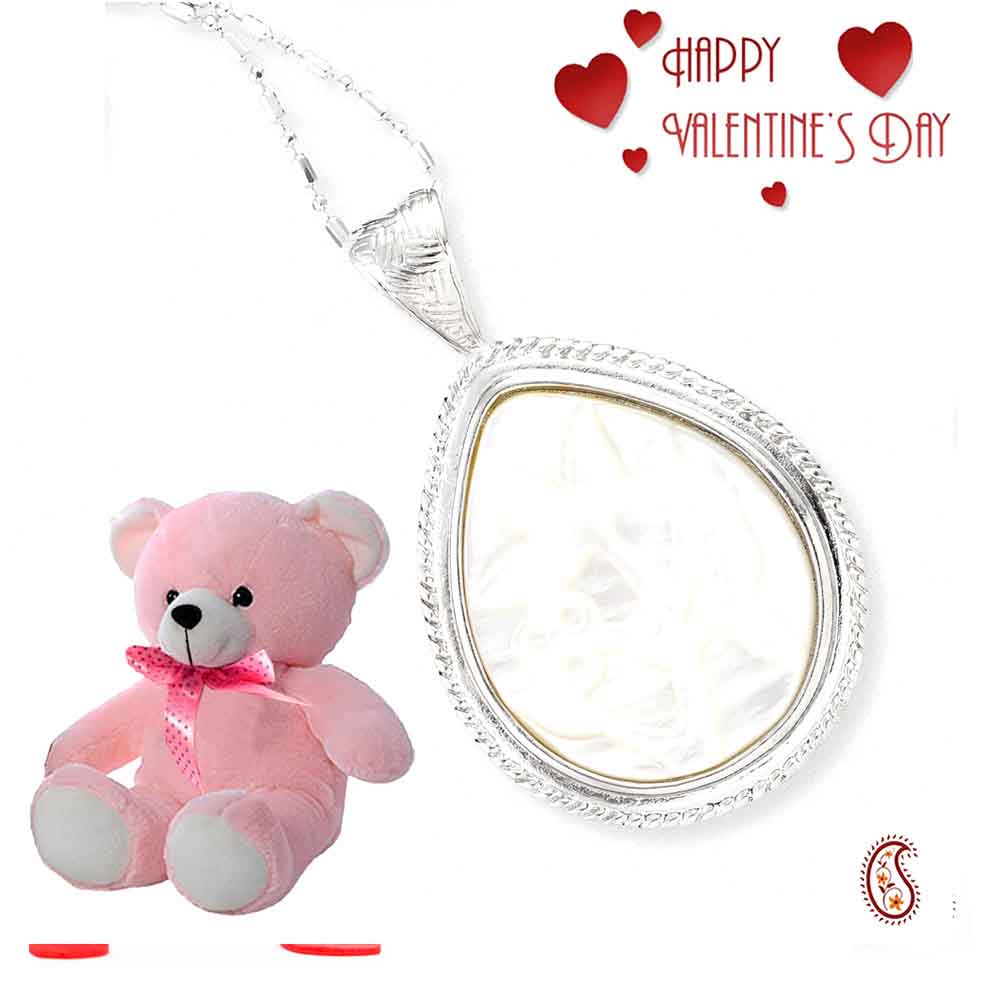 Tear drop embossed Shell Pendant with Free Teddy & Valentine's Card.