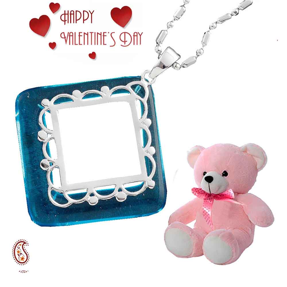 Mid Blue Agate Ring Silver Pendant with Free Teddy & Valentine's Card.