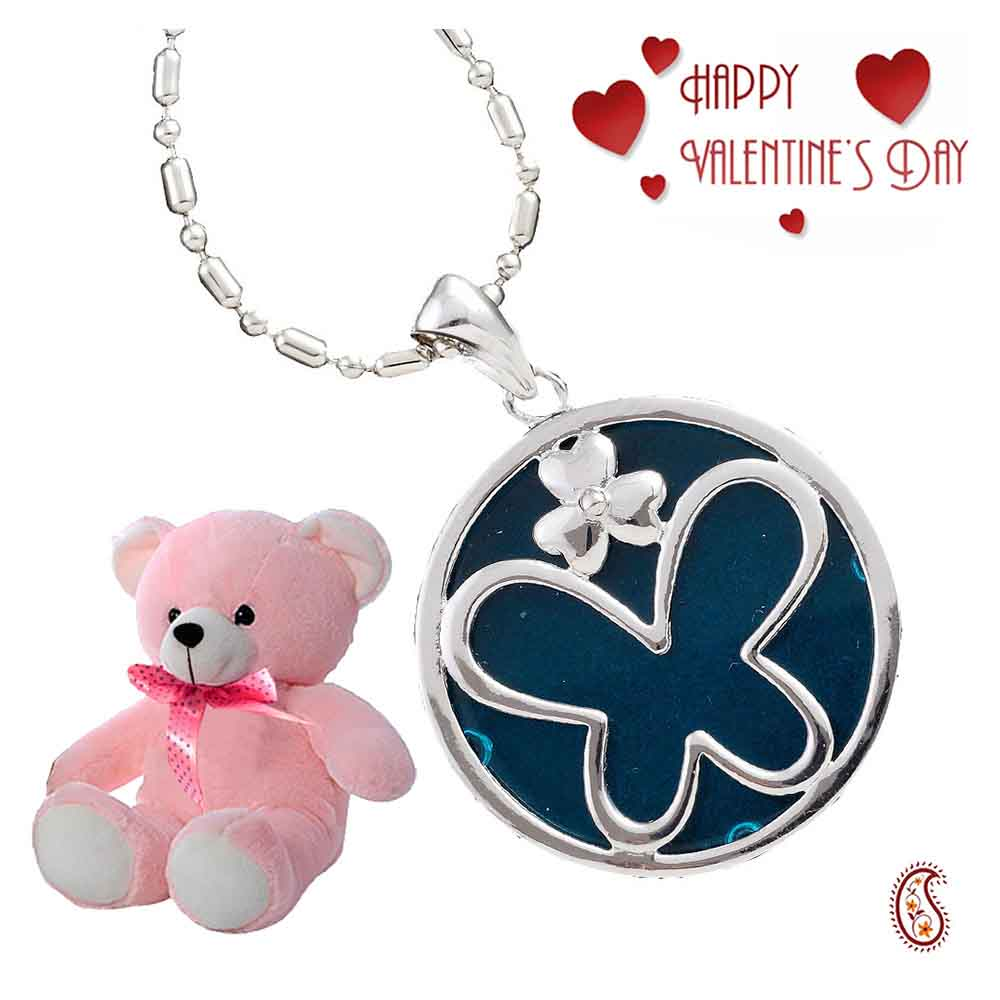 Blue Agate Silver Butterfly Pendant with Free Teddy & Valentine's Card.