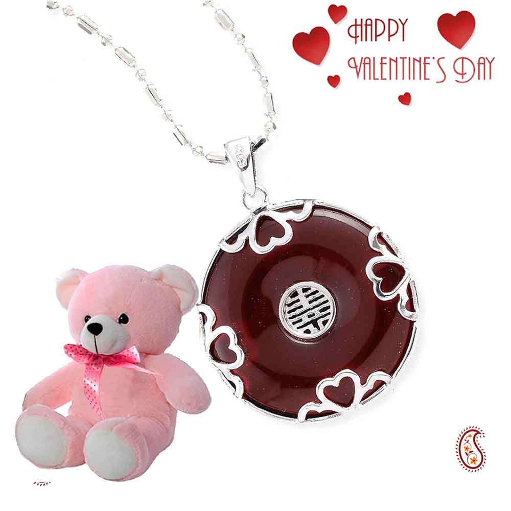 Silver and Red Agate Pendant with Free Teddy & Valentine's Card.