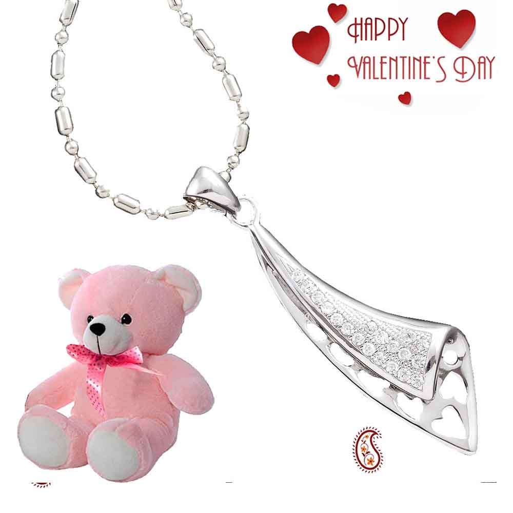 Fold Over Silver Pendant with Free Teddy & Valentine's Card.