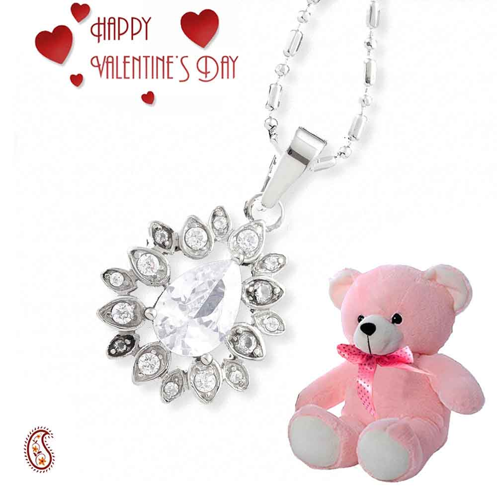 Pear Shaped White CZ Pendant with Free Teddy & Valentine's Card.