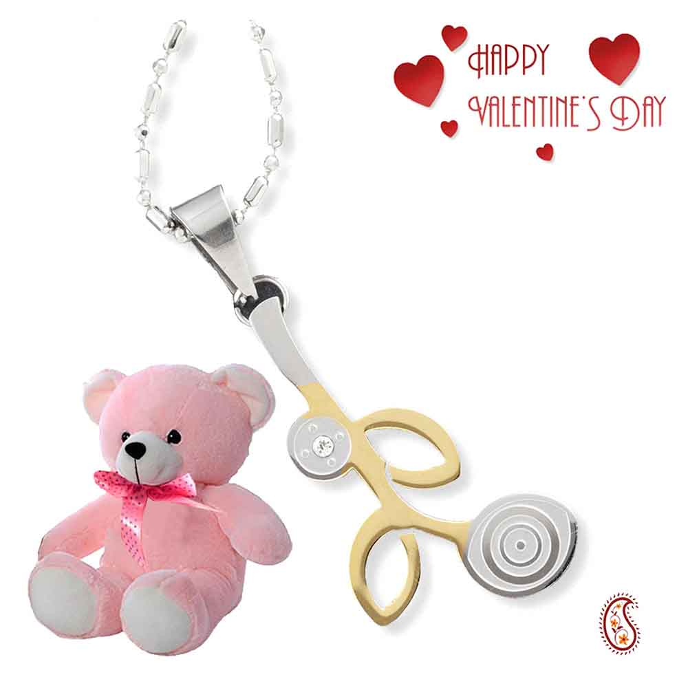 Leaf design CZ Pendant with Free Teddy & Valentine's Card.