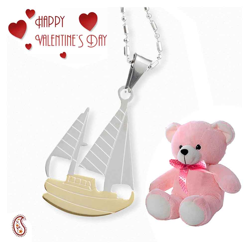 Alloy Steel CZ Boat Pendant with Free Teddy & Valentine's Card.