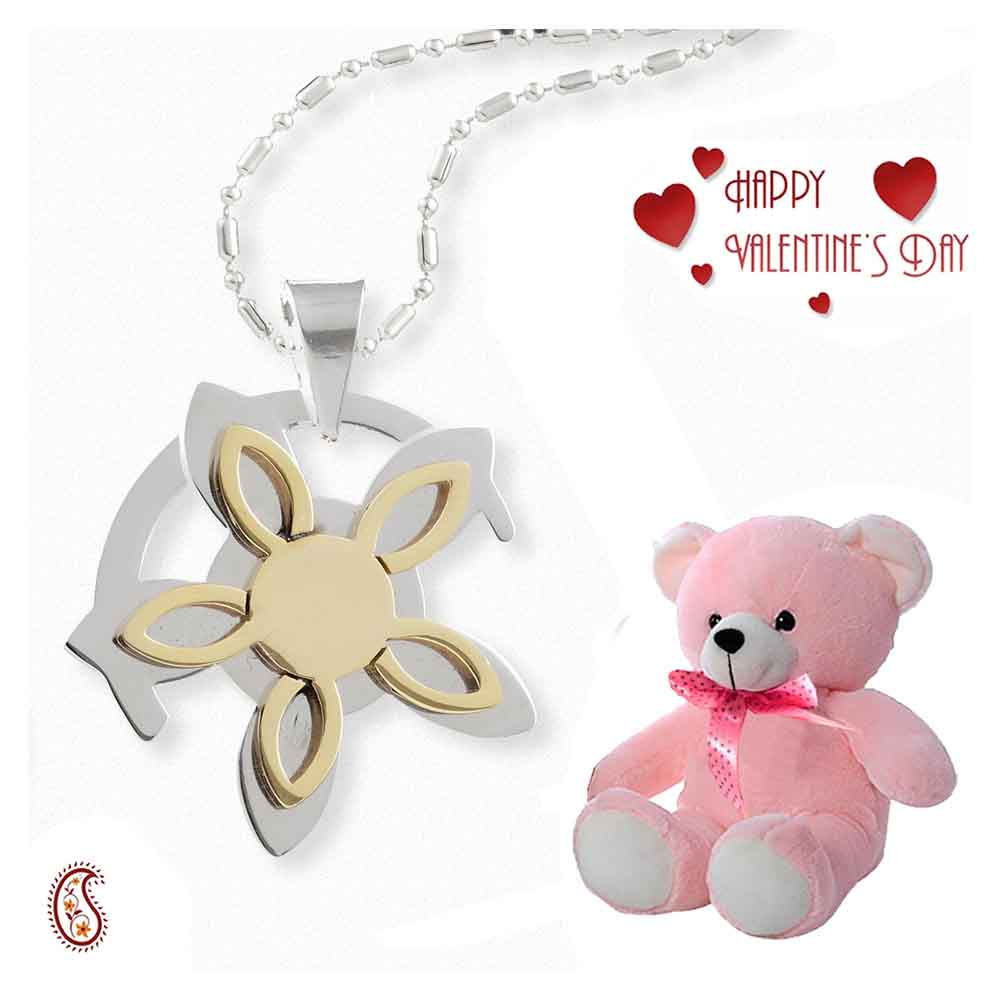 Oriental design Steel pendant with Free Teddy & Valentine's Card.
