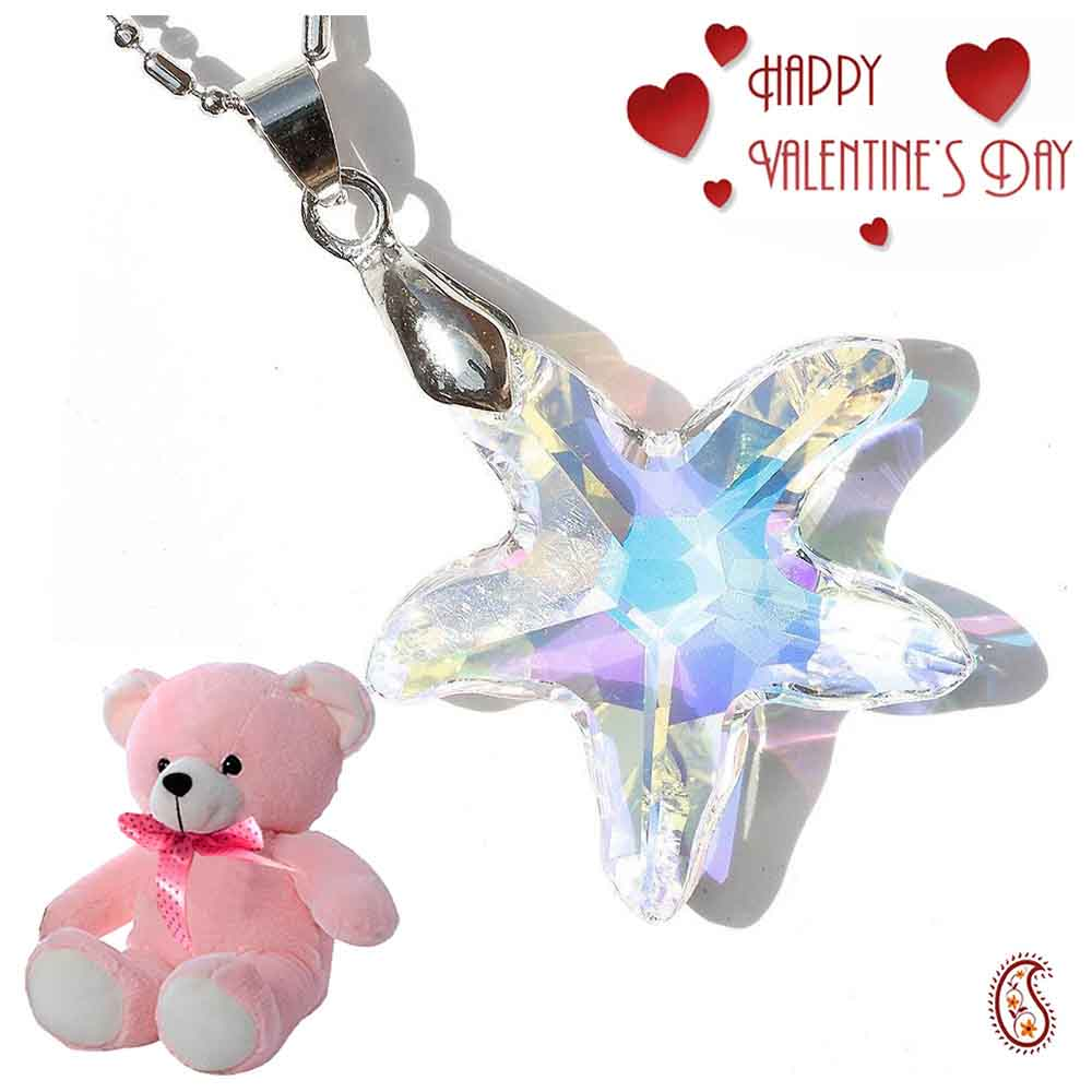 Crystal Star Pendant with Free Teddy & Valentine's Card.