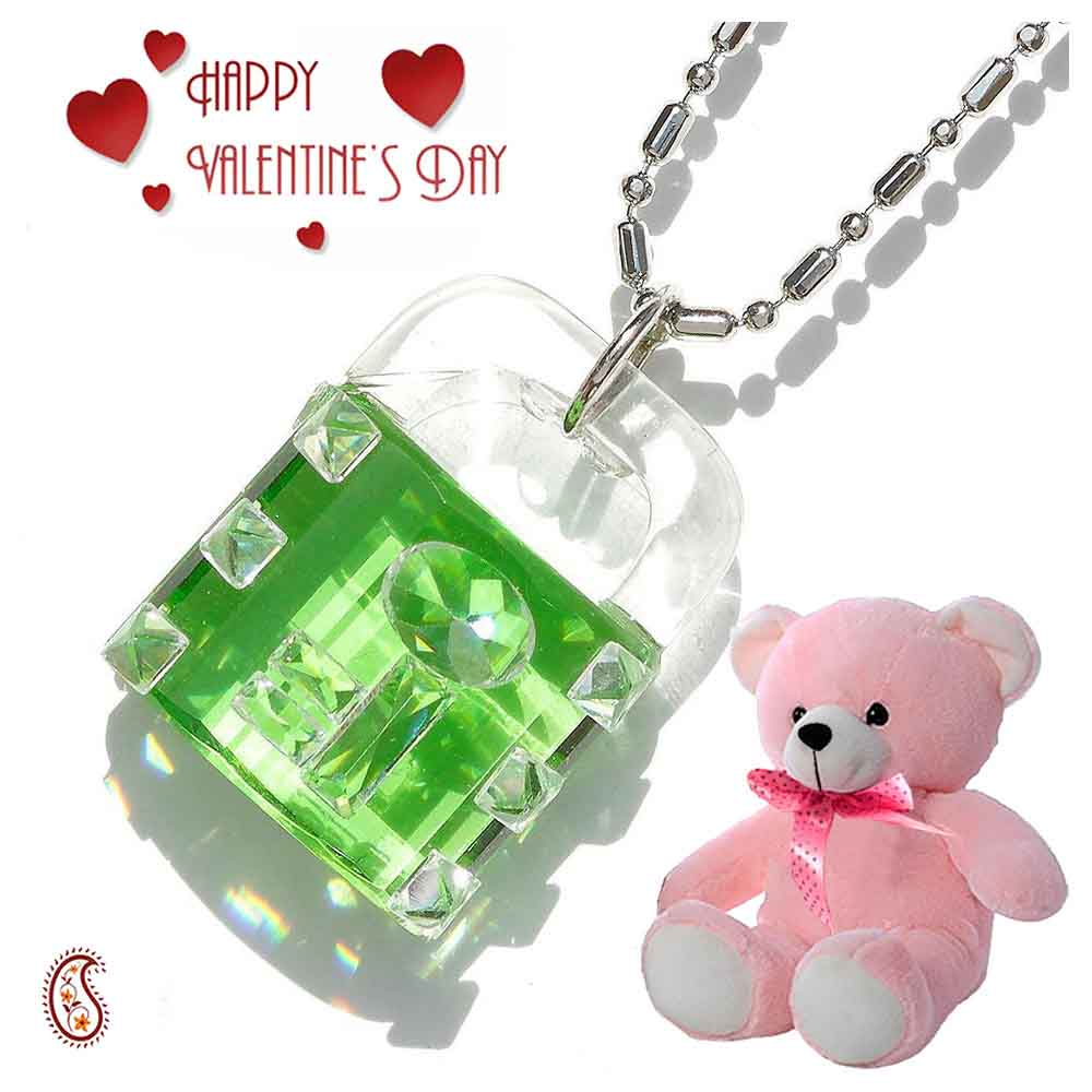 Lock and Key Crystal Pendant with Free Teddy & Valentine's Card.