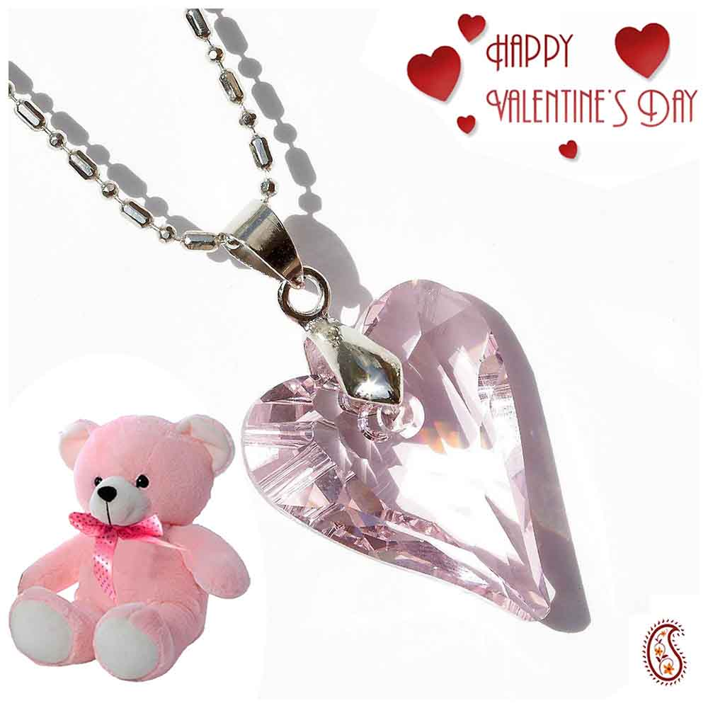 Light Pink Heart Crystal Pendant with Free Teddy & Valentine's Card.