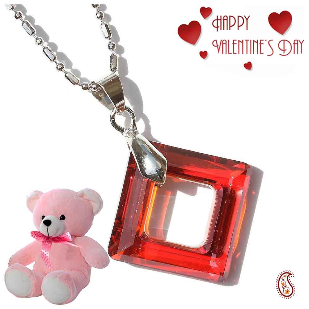 Red Diamond Ring Crystal Pendant with Free Teddy & Valentine's Card.