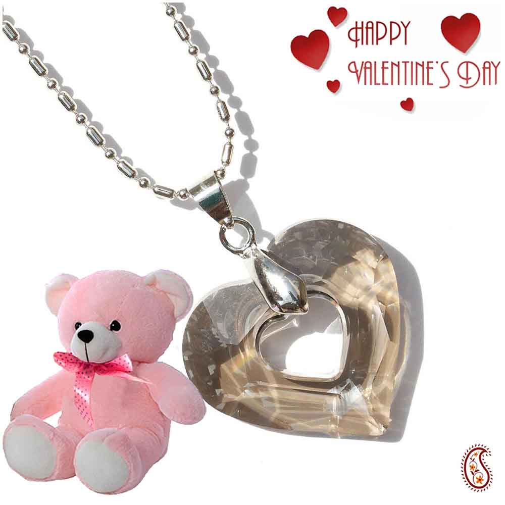 Crystal Heart Pendant with Free Teddy & Valentine's Card.