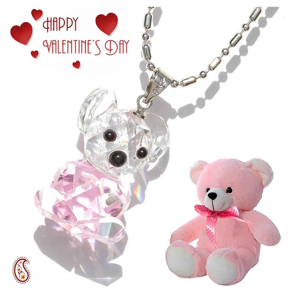 Teddy Bear Crystal Pendant with Free Teddy & Valentine's Card.