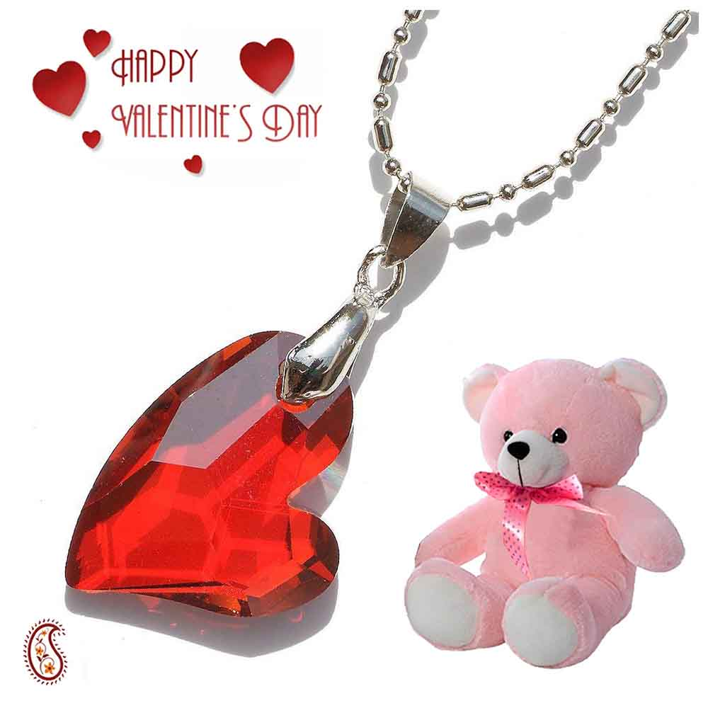 Red Multicut Crystal Pendant with Free Teddy & Valentine's Card.