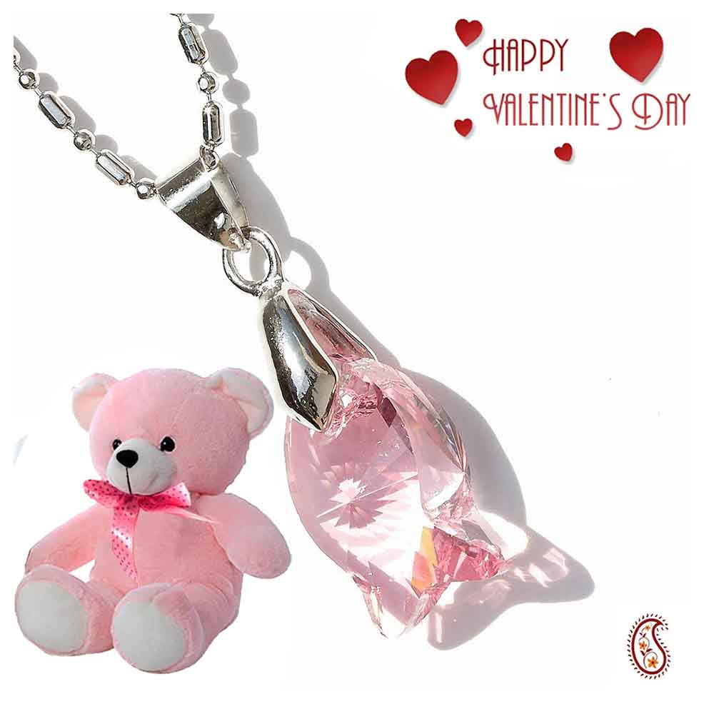 Pink Puppy Crystal Pendant with Free Teddy & Valentine's Card.