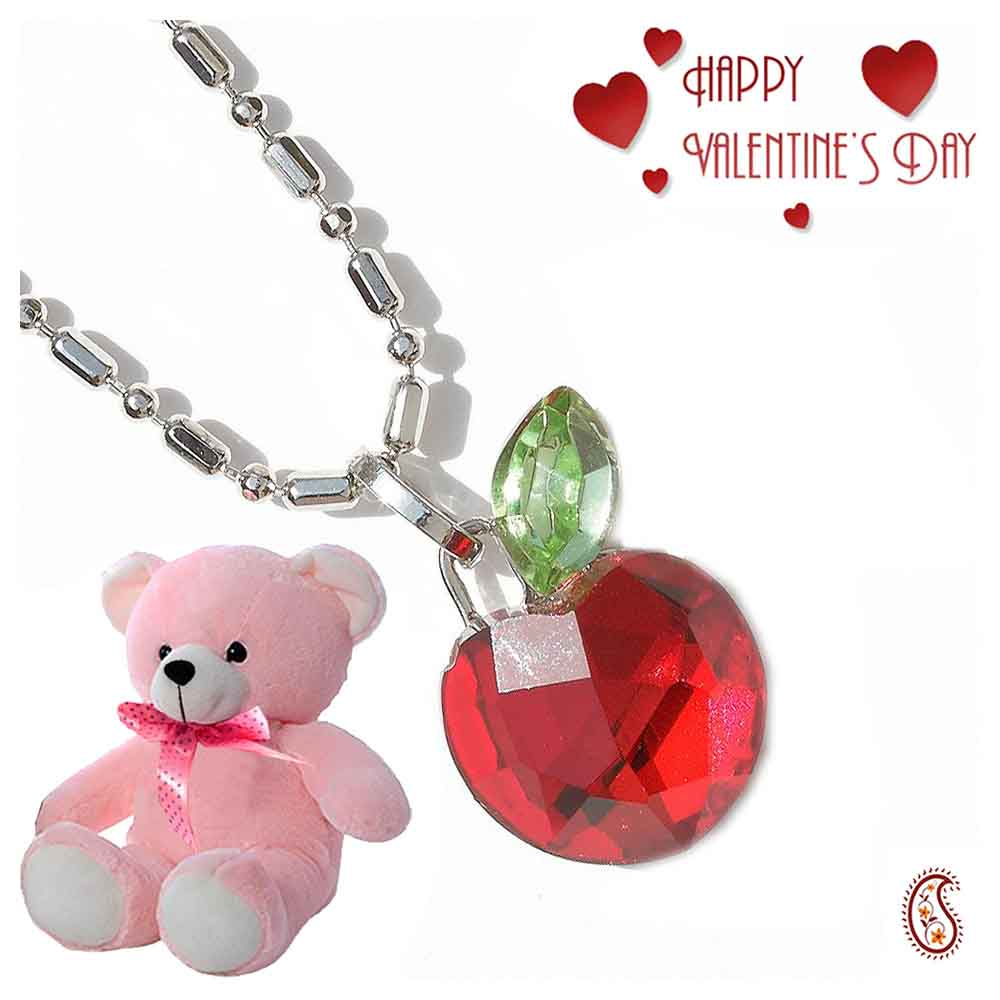Red Apple Crystal Pendant with Free Teddy & Valentine's Card.