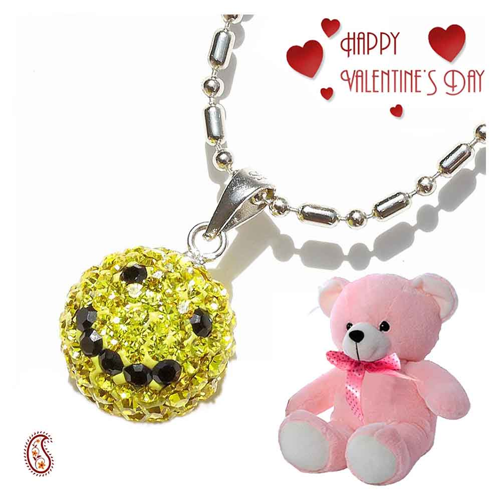 Yellow Smily Swarovski Crystal Pendant with Free Teddy & Valentine's Card.