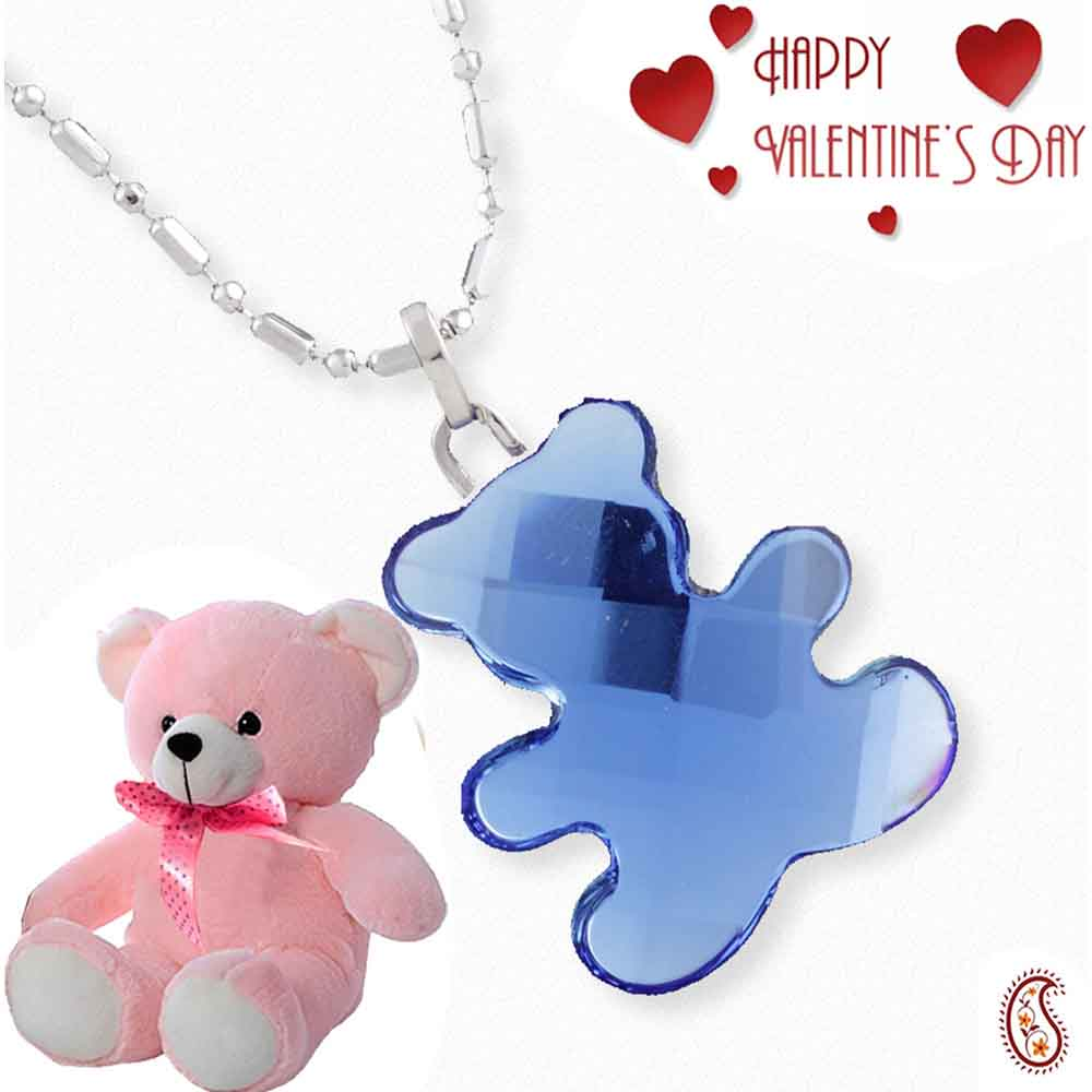 Baby Blue Bear Crystal Pendant with Free Teddy & Valentine's Card.