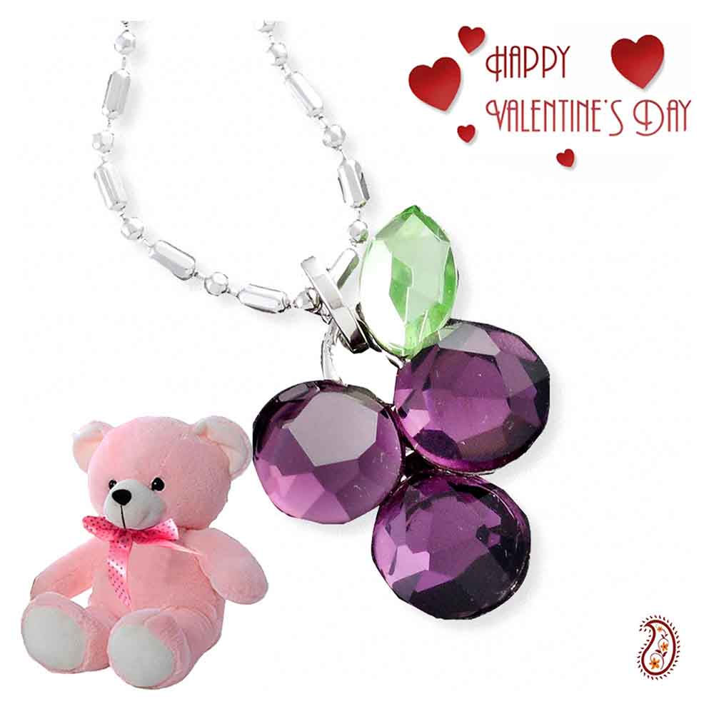 Purple Grape Crystal Pendant with Free Teddy & Valentine's Card.