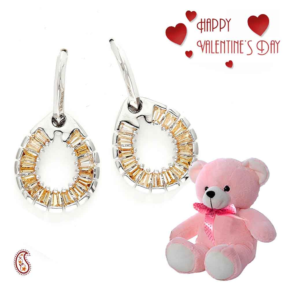 Crystal Bohemian Tear Drop Earrings with Free Teddy & Valentine's Card.