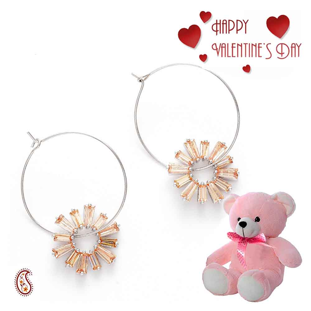 Bohemian Sunflower Hoop Earrings with Free Teddy & Valentine's Card.