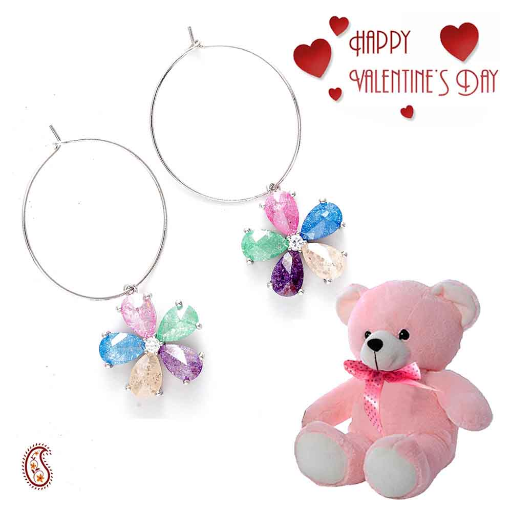 Bohemian Multicolor Hoop Earrings with Free Teddy & Valentine's Card.