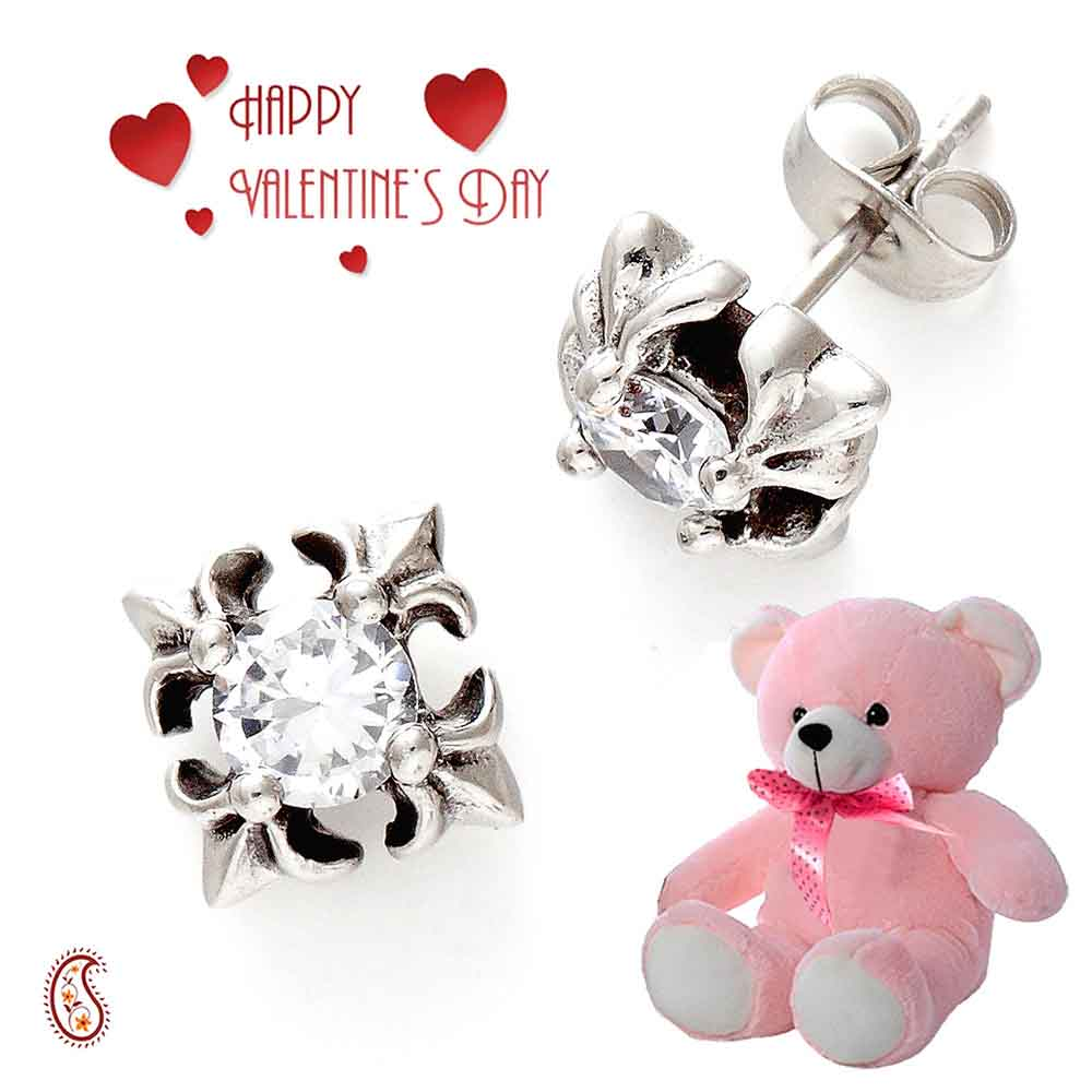 Oxidised Metal and CZ Studs with Free Teddy & Valentine's Card.