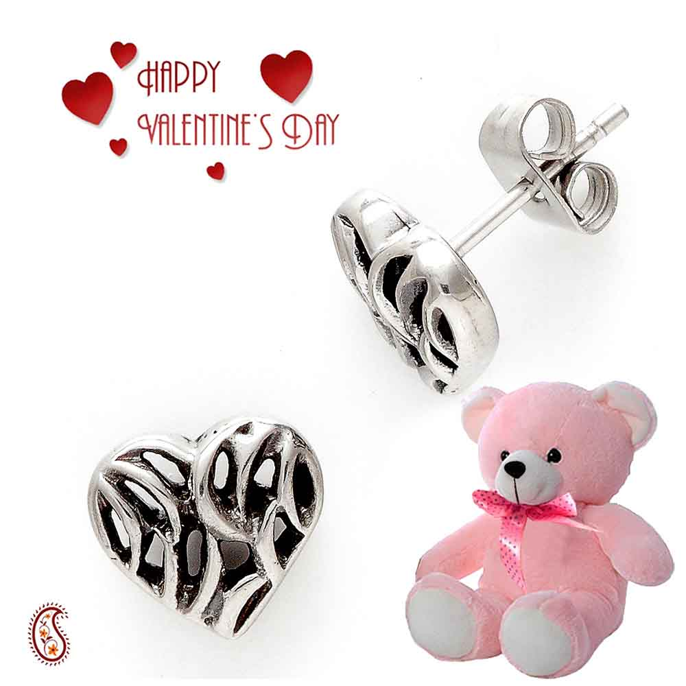 Oxidised stud heart earrings with Free Teddy & Valentine's Card.