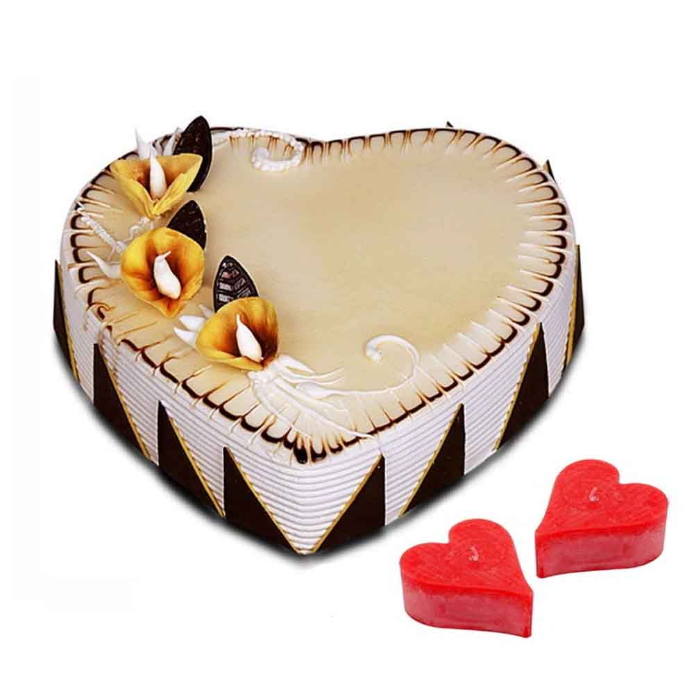 Heart Shape Vanilla Cake With Candles