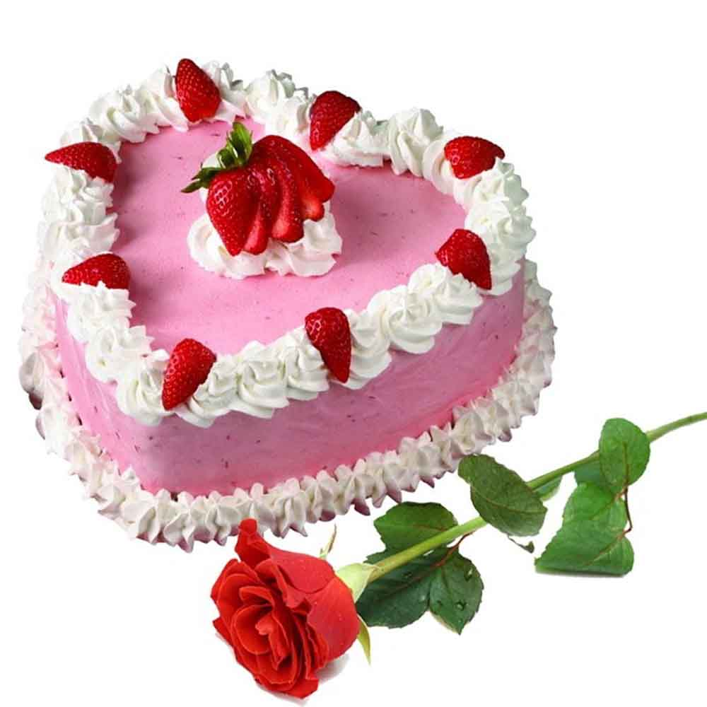 Flowers & Cakes-Strawberry Heart Shape Cake with Single Red Rose