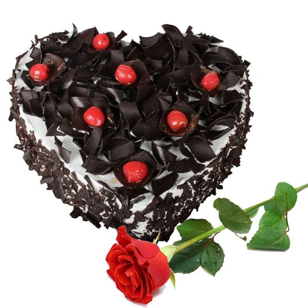 Single Rose with Heart Shape Black Forest Cake