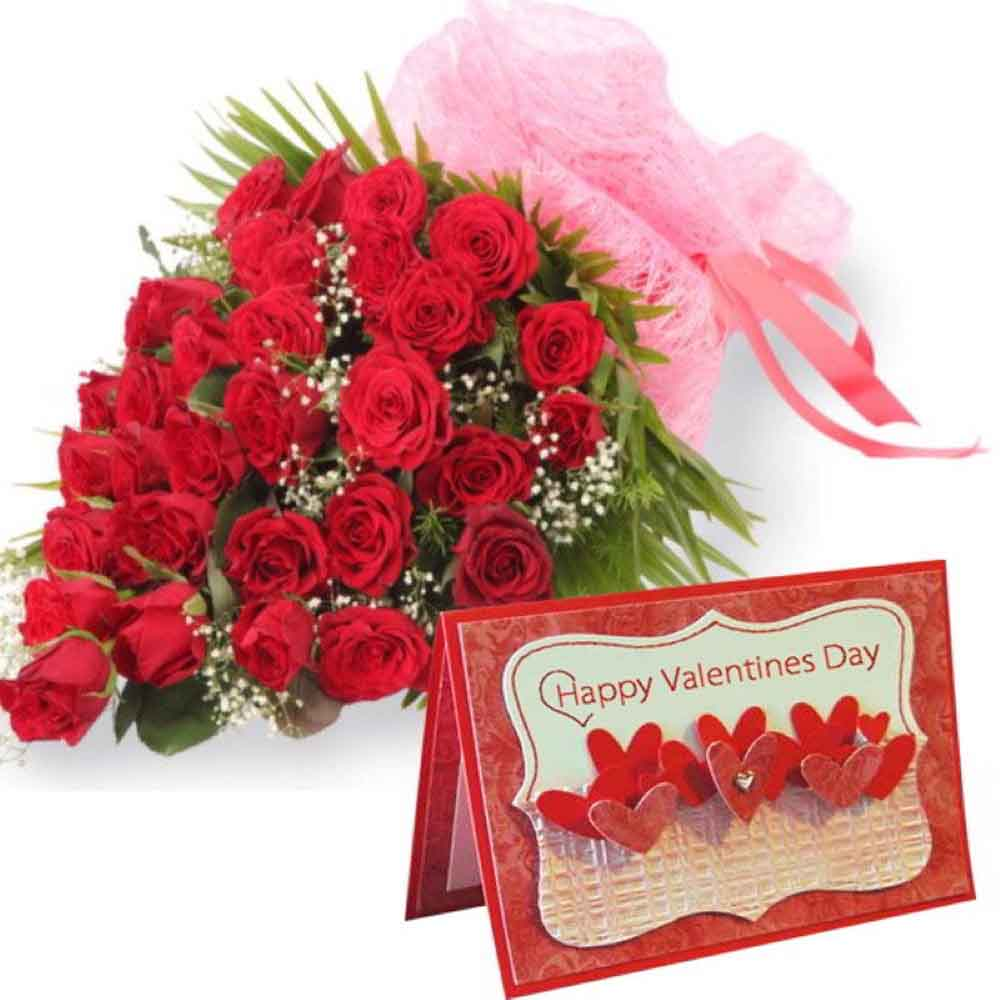 Valentine Roses-Bouquet of Thirty Red Roses with Valentine Greeting Card