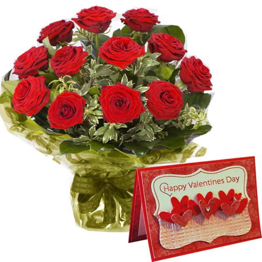Valentine Roses-Bouquet of Twelve Red Roses with Valentine Greeting Card