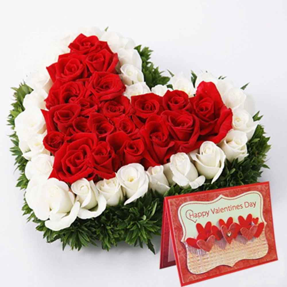 Valentine Roses-Red and White Roses Heart with Valentine Greeting Card