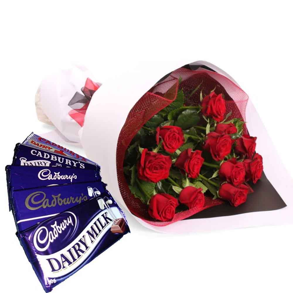 Valentine Roses With Dairy Milk Chocolates