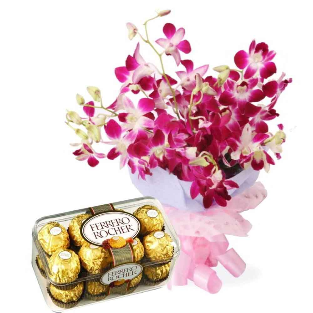 Flowers & Chocolates-Orchids and Ferrero Rocher Chocolates