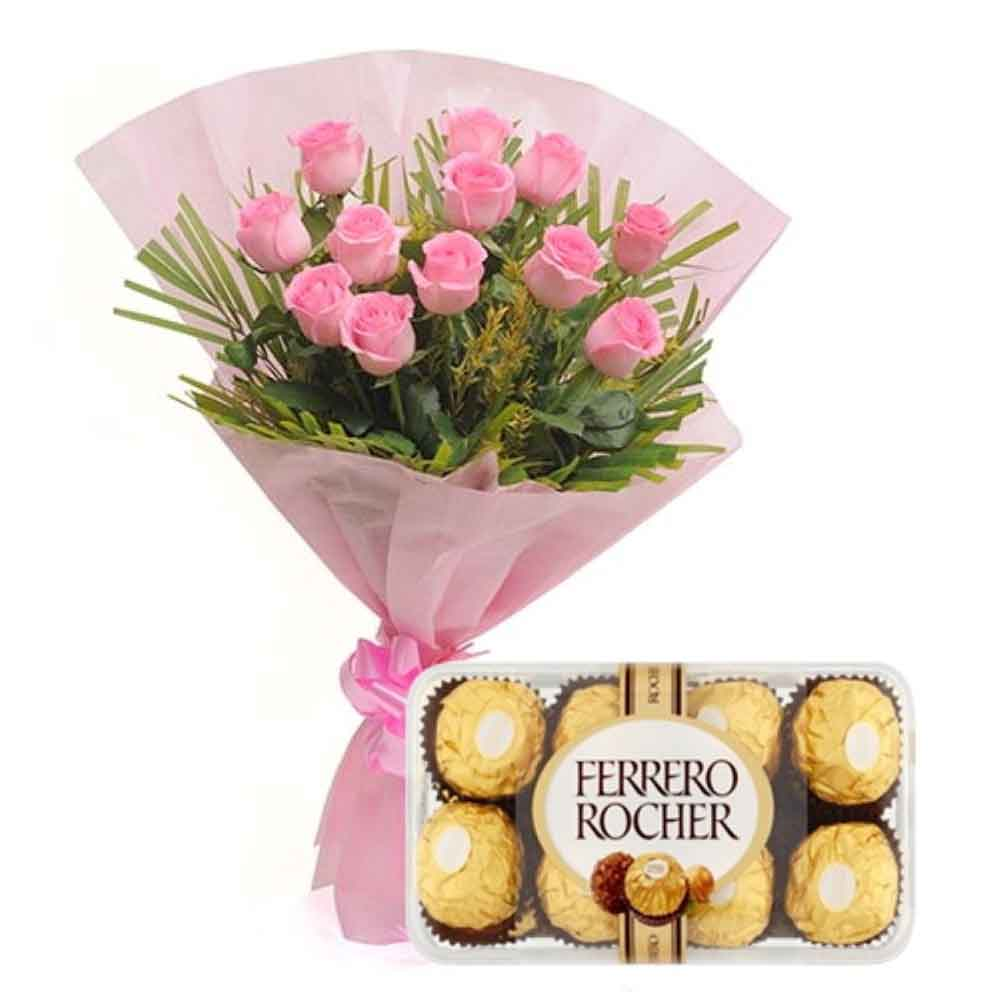 First Valentine Feeling Combo Including Dozen Roses and Ferrero Rocher Chocolates