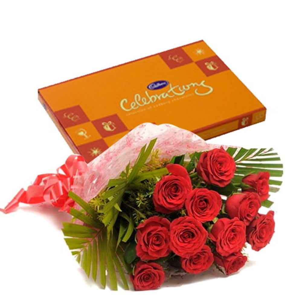 Valentine Celebration Chocolates with Love Token of Twelve Red Roses