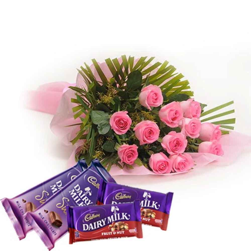 Pink Roses Bunch And Cadbury Dairy Milk Treat