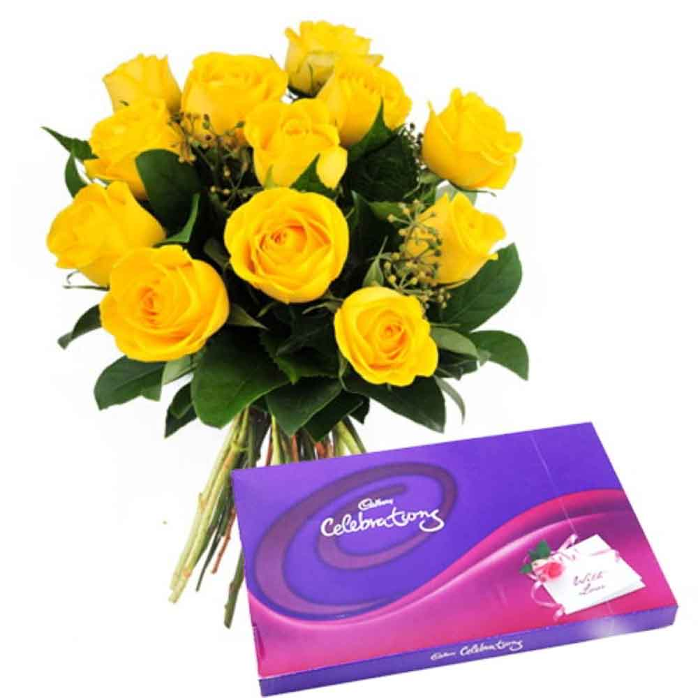Stylish Chocolaty Love Celebration Pack With Yellow Roses
