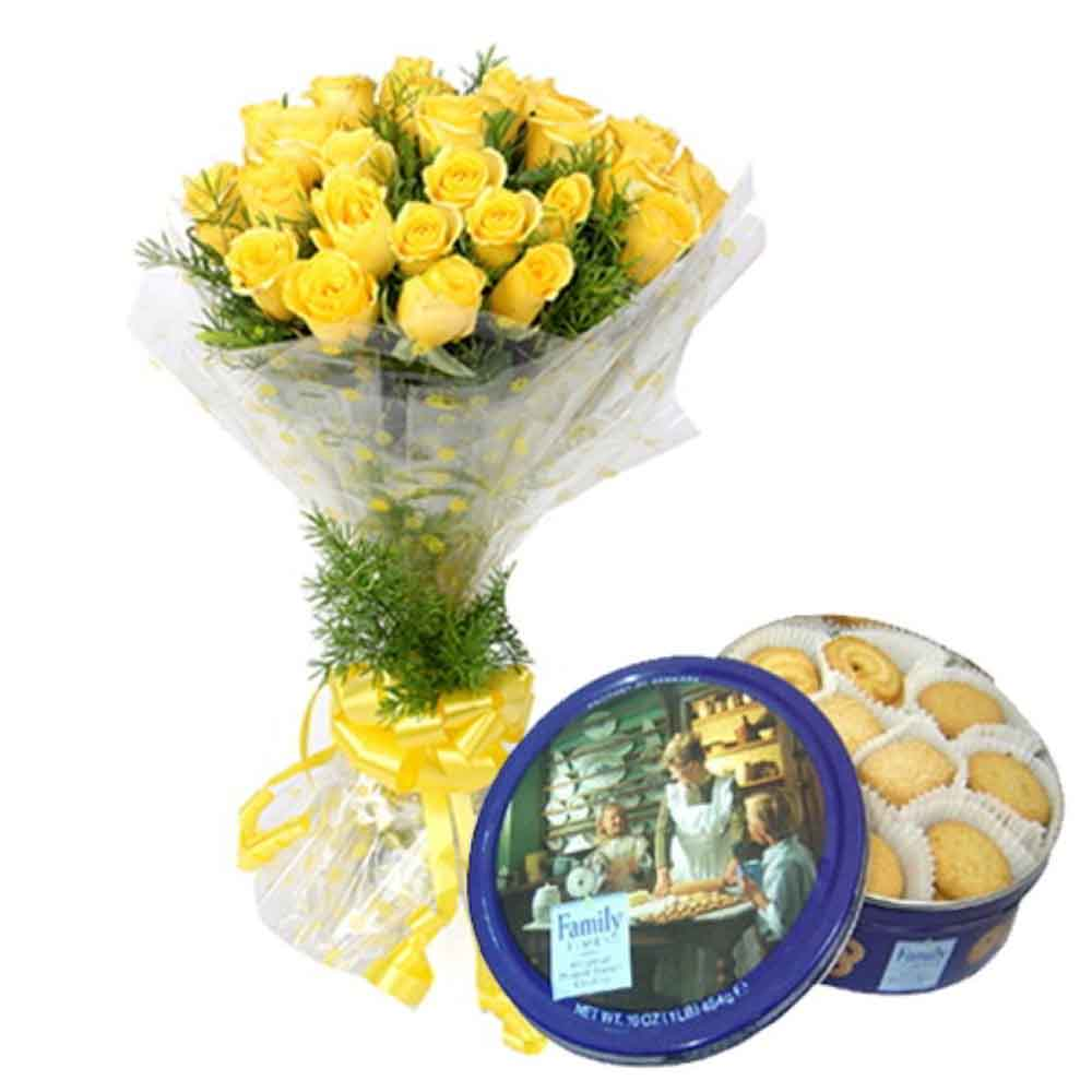Memorable Gift Hamper of Cookies With Yellow Roses
