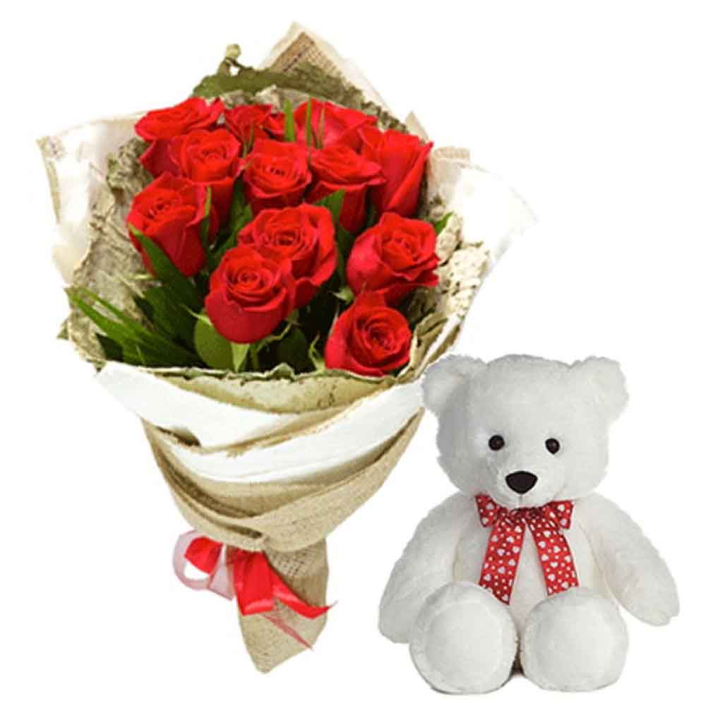 Soft Toy Hampers-Teddy Bear With Roses Bunch