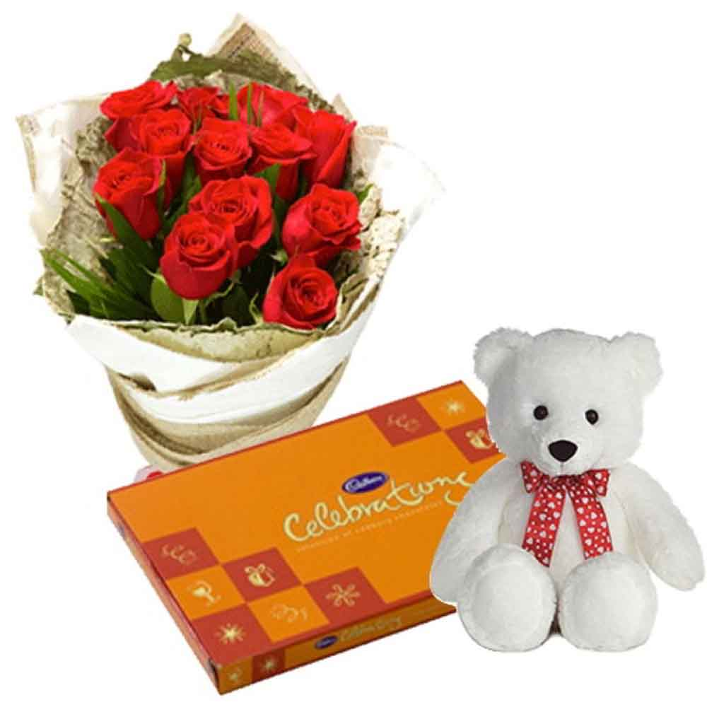Teddy Bear With Roses Bunch And Celebration