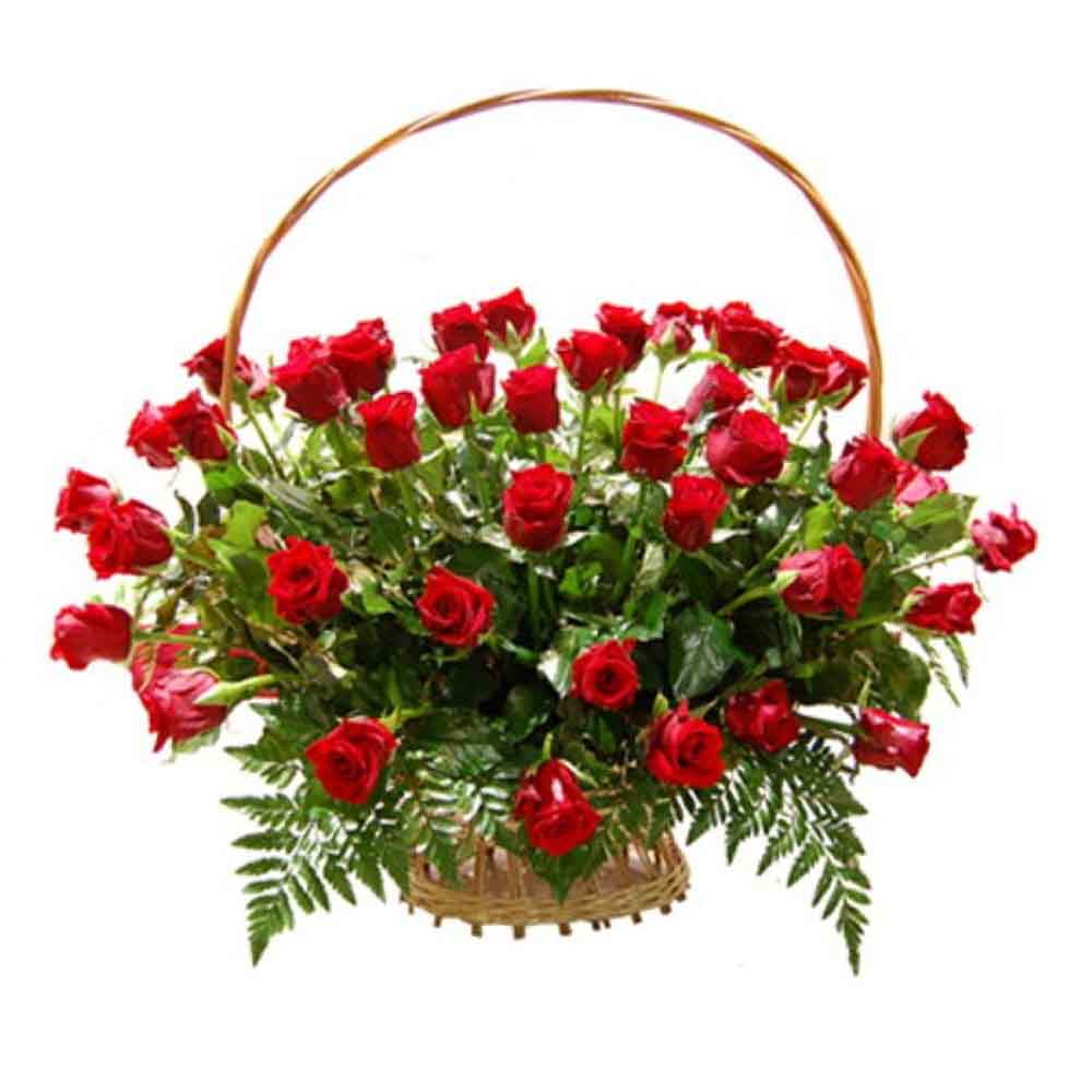 Basket of Love Red Roses